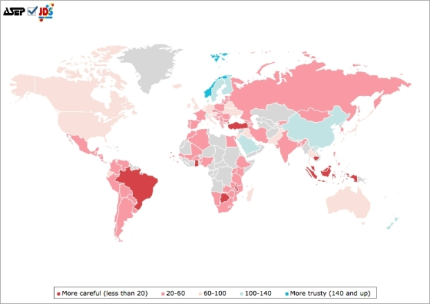 Interpersonal trust World map